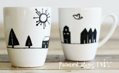 Painted Mugs. Really like these simple design but a touch of color wouldn't hurt them though ;)
