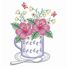 Teacup In Bloom 2, 4 - 3 Sizes! Ace Points Embroidery