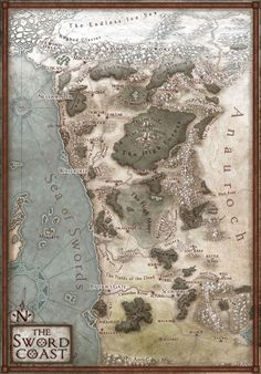 Coastal region map. The Sword Coast, a dangerous swathe of land in the north of DnD's Faerun where soldiers and swindlers alike seek adventure. Featured in the new 5th...