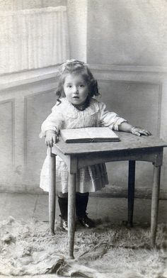 +~+~ Antique Photograph ~+~+   Girl at small desk.
