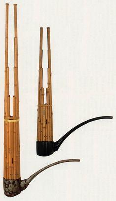 正倉院の楽器 呉竹笙と竿(う) 笙は長さ 53 cm「う」は長さ 79 cm