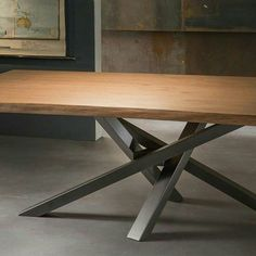 Table Aurélie Iron Table Legs, Diy Table Legs, Dining Table Legs, Welded Furniture, Concrete Furniture, Woodworking Furniture, Furniture Design, Dinning Table Design, Coffee Table Design