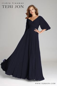 This beautiful and elegant navy colored gown is striking. With its lightweight and delicate chiffon fabric it is an exceptional choice for your backyard wedding! This dress will photograph exceptionally against outdoor scenery. Mother Of Groom Dresses, Bride Groom Dress, Mother Of The Bride, Bride Dresses, Party Dresses, Evening Gowns With Sleeves, Evening Dresses, Dresses With Sleeves, Formal Wedding Attire