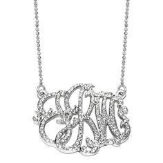 Freeform Diamond Lace Monogram 14K White Gold Necklace JBD529914KWHITEGOLD