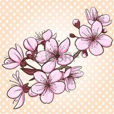 flor de cerejeira para pintar - Pesquisa Google