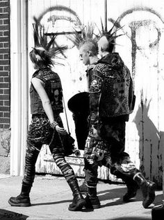 Punks on Trafalgar square - some even shackled their ankles together