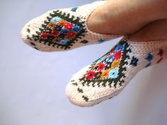 Handmade Women Slippers - Turkish Knitted slippers, Authentic footwear, Stylish…