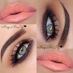 Bronze eyes and coral lips - Maya Mia Peach Eye Makeup, Bronze Eye Makeup, Smokey Eye Makeup, Eyebrow Makeup, Peach Lipstick, Coral Makeup, Maya Mia, Kiss Makeup, Cute Makeup