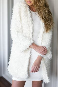 Noble Collarless Long Sleeve Faux Fur White Coat For Women