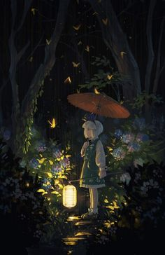 This is a very cute anime scenery wallpaper. It shows a touhou girl under the rain. What a cutie.