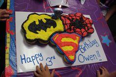 My son's 3rd birthday cupcake cake :)