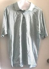 XL BEN HOGAN Mens Teal STRIPED 100% Cotton GOLF Polo SHIRT Extra Large #eBayDanna
