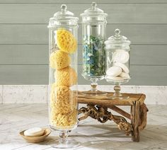 Make Apothecary jars. Decorate with apothecary jars. What to fill in jars to decorate your home. Make beautiful jars from thrift store mason jars and candle Glass Apothecary Jars, Glass Jars, Sea Glass, Apothecary Decor, Glass Containers, Apothecary Jars Bathroom, Apothecary Shoppe, Bathroom Jars, Glass Canisters