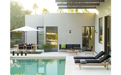 Jonas Bjerre-Poulsen and Kasper Rønn of Norm Architects created their Finn Collection for DWR with classic Danish mid-century furniture in mind. Photography courtesy of Norm Architects. Outdoor Pool, Outdoor Spaces, Outdoor Living, Outdoor Lounge, Moderne Pools, Pool Houses, Pool Designs, Exterior Design, Black Exterior