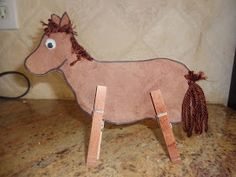 This Clothespin Horse Craft is super easy to create and also helps your Bright Tot practice fine motor skills! Vbs Crafts, Camping Crafts, Crafts For Kids, Toddler Crafts, Cowboy Crafts, Western Crafts, Farm Animal Crafts, Horse Crafts, Farm Animals