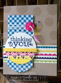 love the washi tape- as banners and decoration of half circle. gingham garden DSP and washi tape, Kind and Cozy stamp set