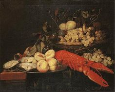 Peaches and oysters on a silver platter with grapes, plums and peaches in a basket and a lobster on a table by Joris van Son