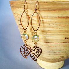 Leaf Earrings with green amethyst, long earrings, gold earrings, amethyst earrings, dangle earrings, ainakai