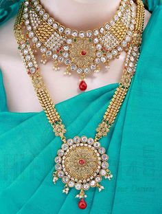 Traditional Bridal Jewellery Set with White Crystal Stones