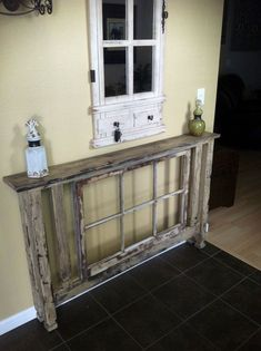 Beautiful Entry Table Decor Ideas to give some inspiration on updating your house or adding fresh and new furniture and decoration. furniture farmhouse Best Entryway Table Ideas to Greet Guests in Style Antique Windows, Vintage Windows, Old Windows, Repurposed Furniture, Diy Furniture, Window Furniture, Modern Furniture, Repurposed Shutters, Furniture Design