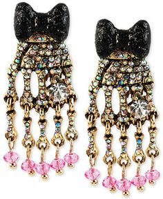 Betsey Johnson Gold-Tone Skeleton Hand Drop Earrings