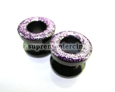 2g 6mm Black Steel Glitter Purple Screw Flesh Tunnels