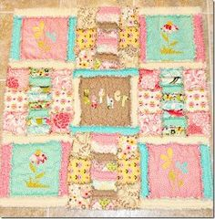 Quick springtime quilts double as pretty baby #quilt patterns for baby girls. This Shabby Spring Baby Rag Quilt #pattern is no exception! Make these cute rag quilts to decorate your home for spring or to welcome a smiling little girl into the world. A piecework pattern and flower appliques put this project a cut above a simple patchwork rag quilt.