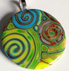 Swirl Polymer Clay Pendant in Turquoise by purplecactusstudios