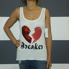 """""""Heart Breaker"""" tank top NWT Brand new with tags  Sassy sequin and rhinestone detailed tank top. Pair with jeans or shorts and sandals and you're ready to go play. Red rhinestone on half of the heart and red sequins make the other half.  Size medium  Made in the USA  BUST side to side 16"""" when laid flat Tops Tank Tops"""