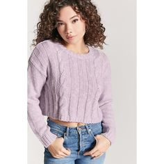 Forever 21 Cable Knit Sweater Lavender ( 12) ❤ liked on Polyvore featuring  tops fb27df9f637