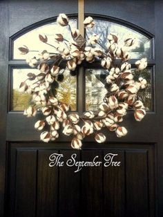 Cotton Wreath  Cotton Branch Wreath  Faux by TheSeptemberTree, $40.00