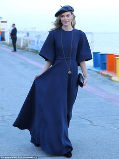 Be true blue in a maxi dress like Jaime King's. Click 'Visit' to buy now. #DailyMail