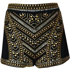 Jeweled Black Shorts ($78) ❤ liked on Polyvore featuring shorts, bottoms, pants, short, high rise shorts, high-waisted shorts, high-rise shorts, high waisted short shorts and highwaist shorts