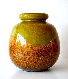 VINTAGE West Germany vase with glossy green by VintageandPrints, €30.00