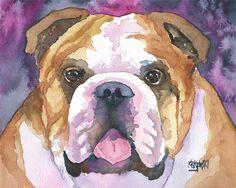 English Bulldog impresión del arte de la Acuarela por dogartstudio