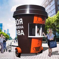 Small Coffee Shop, Coffee Store, Coffee Shop Design, Mobile Coffee Cart, Mobile Coffee Shop, Food Cart Design, Food Truck Design, Kiosk Design, Cafe Design