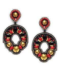 Red & Black Bead Drop Earrings by Ranjana Khan at Gilt