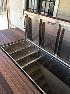 Hidden Access to Cellar _LuciGold All Aluminum Basement Bulkhead Door house Hide Access to Your Cellar Basement Entrance, Basement Windows, Basement Bedrooms, Basement Stairs, Basement Flooring, Flooring Ideas, Basement Bathroom, Basement Apartment, Dark Basement