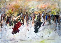 """""""ARTE CICLISTICA"""" -  opera di Roberto Sironi - acrilico su tela - 70 x 100"""