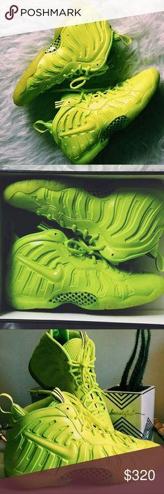Nike foamposite volt yellow green Size 7 kids fits size 8.5 9 women. No trades Nike Shoes Sneakers