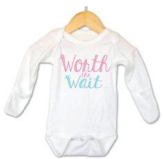 Worth the Wait Baby Onesie Cute Baby Onesie by littleadamandeve, $14.99