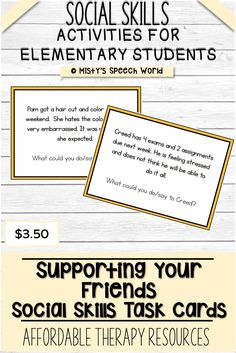 $3.50 · If you're looking for speech therapy activities to work on social skills for kids, these task cards are just what you are looking for. This is a NO prep speech therapy activity: Buy now, print and you are ready to go! Find this and MANY more therapy resources for kids at Misty's Speech World! Buy now: to purchase this set of task cards, click on this pin, purchase and add this therapy resource to your speech therapy toolkit!
