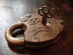 Antique Brass Lock with Key $36