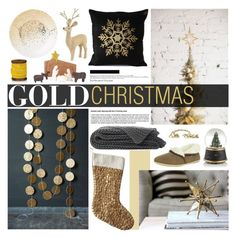 """Winter Decor: Gold Christmas"" by emmy ❤ liked on Polyvore featuring interior, interiors, interior design, home, home decor, interior decorating, House & Home, The Velvet Chair Company, Free Step and Marks & Spencer"
