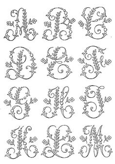 - Picture of Whole Alphabet - Broderie d'Antan Embroidery Alphabet, Embroidery Monogram, Embroidery Fonts, Hand Embroidery Patterns, Ribbon Embroidery, Cross Stitch Embroidery, Embroidery Designs, Letter Patterns, Craft Patterns