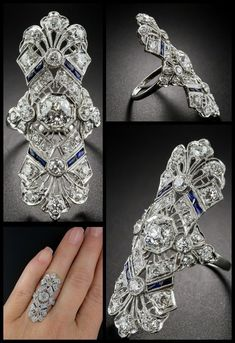 A spectacular antique Art Deco dinner ring at Lang Antiques. Sapphires and diamonds in platinum filigree, circa A spectacular antique Art Deco dinner ring at Lang Antiques. Sapphires and diamonds in platinum filigree, circa Art Deco Schmuck, Bijoux Art Deco, Schmuck Design, Art Deco Jewelry, Fine Jewelry, Jewelry Design, Body Jewelry, Jewelry Rings, Jewelry Crafts