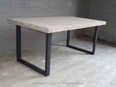 Tafel Style industrieel greywash steigerhouthuis foto 1
