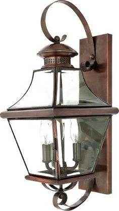 Quoizel CAR8729AC Carleton 23-Inch x 9-Inch 3 Light Outdoor Wall Fixture, Aged Copper by Quoizel. $400.49. From the Manufacturer                The historical design of the Carleton outdoor fixture will bring a handsome colonial appeal to your home. The antique style solid copper, square tapered frame with a curved top eloquently displays the clear beveled glass, adding an elegant touch to the light.                                    Product Description                This wall...