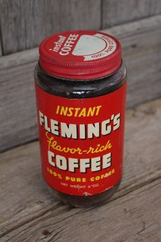 This is a Fleming's brand 6 ounce instant coffee glass jar with paper label and metal cap. It was produced by Certified Brands Inc. out of Kansas City Missouri. The glass jar is in great shape with no chips, cracks, or damage. The painted metal cap has advertising graphics and only very light surface wear and discoloration. The paper label has some light age related wear and some edge wear and discoloration, but it is complete and in very good shape. This is a pretty unique Kansas City collectib Coffee Jars, Coffee Tin, Vintage Coffee, Vintage Bathroom Decor, Retro Kitchen Decor, Vintage Packaging, Coffee Packaging, Spice Tins, Retro Housewife