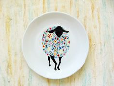 Hand painted porcelain plate - Wildflower Sheep by roootreee on Etsy Dot Painting, Ceramic Painting, China Painting, Painted Ceramic Plates, Hand Painted Ceramics, Pottery Painting Designs, Pottery Designs, Porcelain Pens, Painted Porcelain